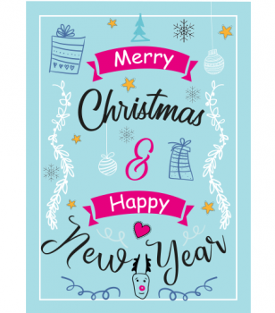 Postkarte - Merry christmas & Happy new year